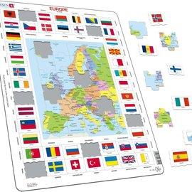 larsen Puzzel Maxi Kaart Europa met vlag