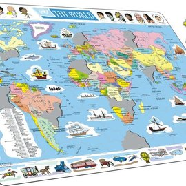larsen Puzzel Maxi kaart  wereld