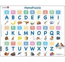 Larsen puzzel Maxi Memopuzzel Leren Lezen - Het alfabet met afbeeldingen - 52 stukjes