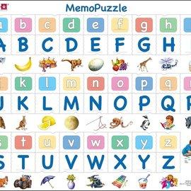 Larsen Larsen puzzel Maxi Memopuzzel Leren Lezen - Het alfabet met afbeeldingen - 52 stukjes