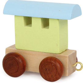 Houten lettertrein Wagon gekleurd