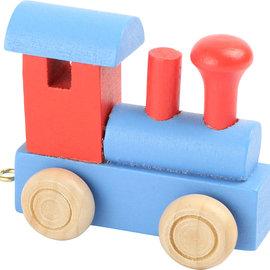 Houten Lettertrein Locomotief rood/blauw