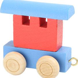 Houten Lettertrein Wagon rood/blauw