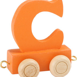 Houten Lettertrein Letter C (oranje)