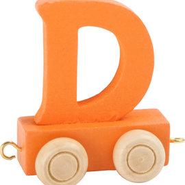 Houten Lettertrein Letter D (oranje)