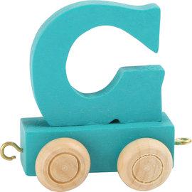 Houten Lettertrein Letter G (turquoise)