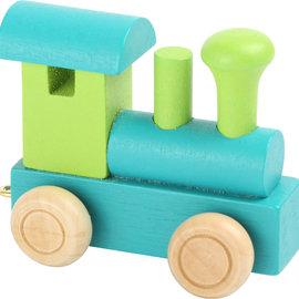 Houten Lettertrein Locomotief turquoise/groen