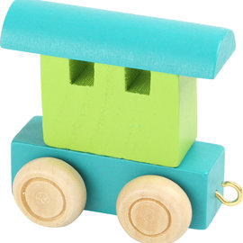 Houten Lettertrein Wagon turquoise/groen