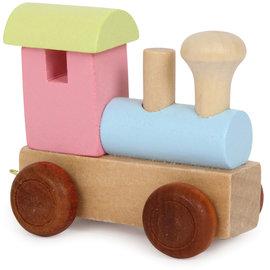 Houten lettertrein Locomotief gekleurd
