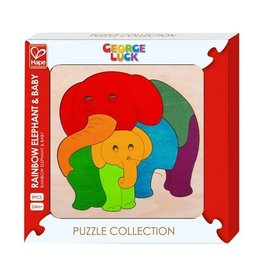 Hape Hape Houten puzzel - Regenboog olifant met baby