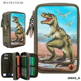 Dino World Dino World 3-vaks etui, gevuld aquarel
