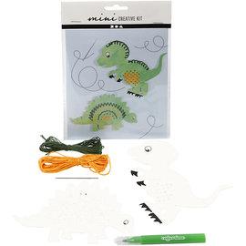 Mini Creatieve Set, borduur figuur - dinosaurus