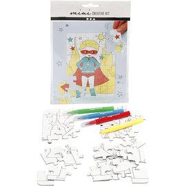 Mini Creatieve Set, puzzel - superheld, wit