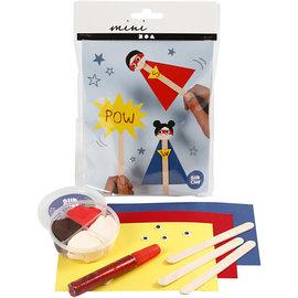 Mini Creatieve Set, ijsstokjesfiguren - superhero