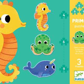 Djeco Djeco 7144 Primo puzzel - In de zee (3 puzzels, 6, 4 en 9 stukjes)
