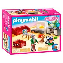 Playmobil Playmobil - Huiskamer met open haard (70207)