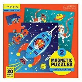 Mudpuppy Mudpuppy 2 magnetische puzzels ruimte avontuur (2 x 20 stukjes)