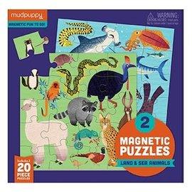 Mudpuppy Mudpuppy 2 magnetische puzzels land en zee dieren