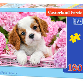 Castorland Castorland puzzel Pup in pink flowers (180 stukjes)