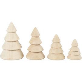 creotime Kerstbomen van hout (4 stuks)