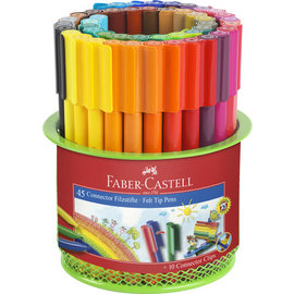 Faber-Castell Faber-Castell viltstift Connector 45 stuks in metalen blik groen