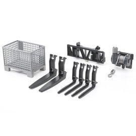Bruder Bruder Frontlader onderdelen: touwhaspel/pallet/heftruckvork