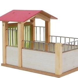 Kids globe Kids Globe paardenbox 14x21,8x14cm 1:24 roze (excl. accessoires)