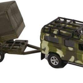 Kids globe Kids Globe Land Rover met aanhanger military pull-back 27cm