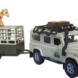 Kids globe Kids Globe Land Rover met giraffe-trailer pull-back 29cm