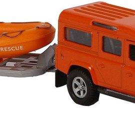 Kids globe Kids Globe Land Rover met reddingsboot pull-back 27cm