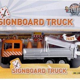 Kids globe Kids Globe truck met bebakeningbord licht pull-back 14cm