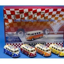 VW classical bus flowerpower die cast pull 4ass 1:32
