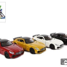 Mercedes AMG Gtr pull back 4ass 12cm wit/zwart/rood/geel