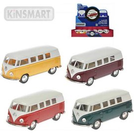 VW classical bus pull back 4ass uni kleur 1:32