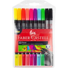 Faber-Castell Faber-Castell viltstiften Duo neon kleuren in etui a 10 stuks