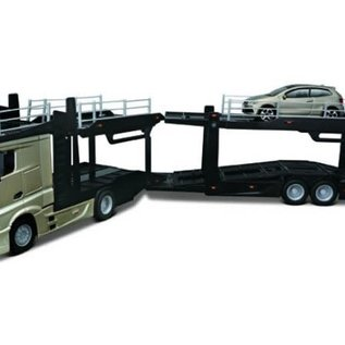 Bburago Bburago Mercedes Benz Actros 2545 Multi Car Carrier + VW Polo 1:43