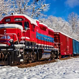 Bluebird Bluebird puzzel - Red train in the snow (1500 stukjes)