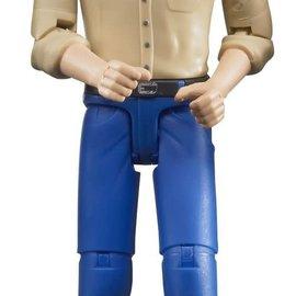 Bruder Bruder man met blanke huid en blauwe broek 10,7cm