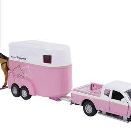 Kids globe Kids Globe Mitsubishi met paardentrailer die cast roze 27 cm