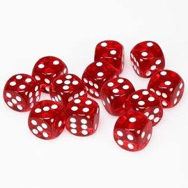 Chessex Dobbelsteen rood doorzichtig 16 mm (per stuk)