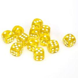 Chessex Dobbelsteen geel doorzichtig 16 mm (per stuk)