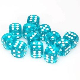 Chessex Dobbelsteen groenblauw doorzichtig 16 mm (per stuk)