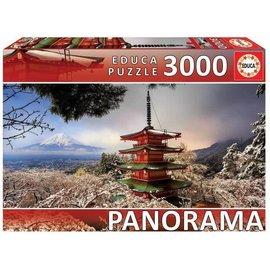 Educa Educa puzzel Mount Fuji and Chureito Pagoda Japan, Panorama (3000 stukjes)