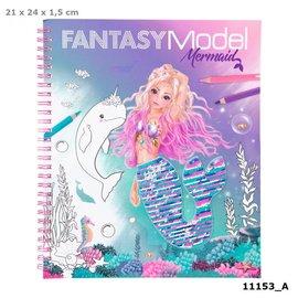 TopModel Fantasy Model kleurboek met pailletten zeemeermin