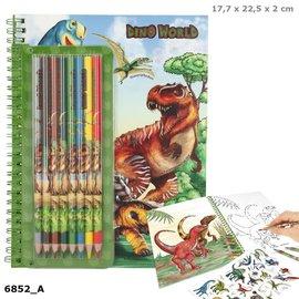 Dino World Dino World kleurboek met kleurpotloden