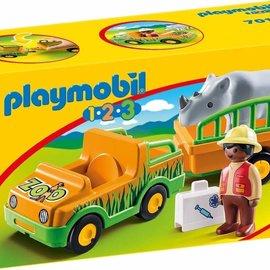 Playmobil Playmobil - 1.2.3 Dierenverzorger met neushoorn (70182