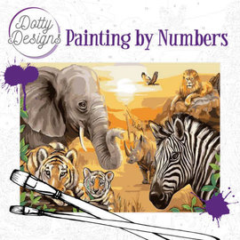 Dotty Designs Dotty Design schilderen op nummer - Safari 40 x 50 cm