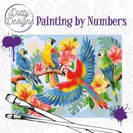 Dotty Designs Dotty Design schilderen op nummer - Papegaaien 40 x 50 cm