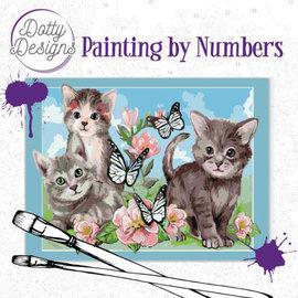 Dotty Designs Dotty Design schilderen op nummer - Cats 40 x 50 cm