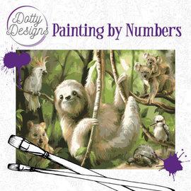 Dotty Designs Dotty Design schilderen op nummer - Luiaard 40 x 50 cm